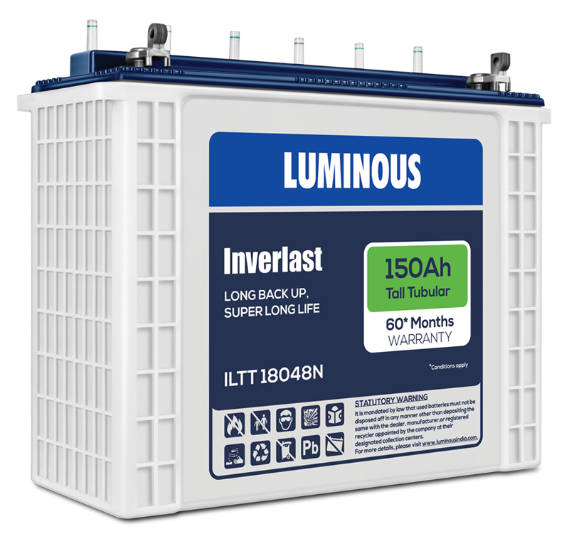 Luminous Tall Tubular Battery - 60 Months Warranty - Full Day Backup